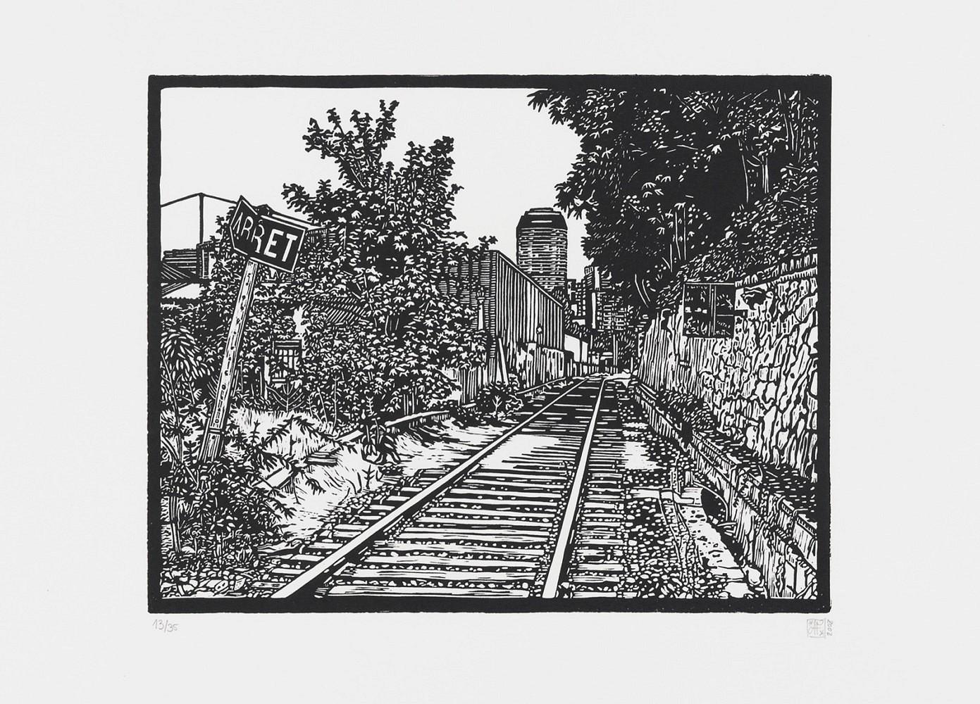 La petite ceinture #3 | Linogravure 30x40 cm - 2008