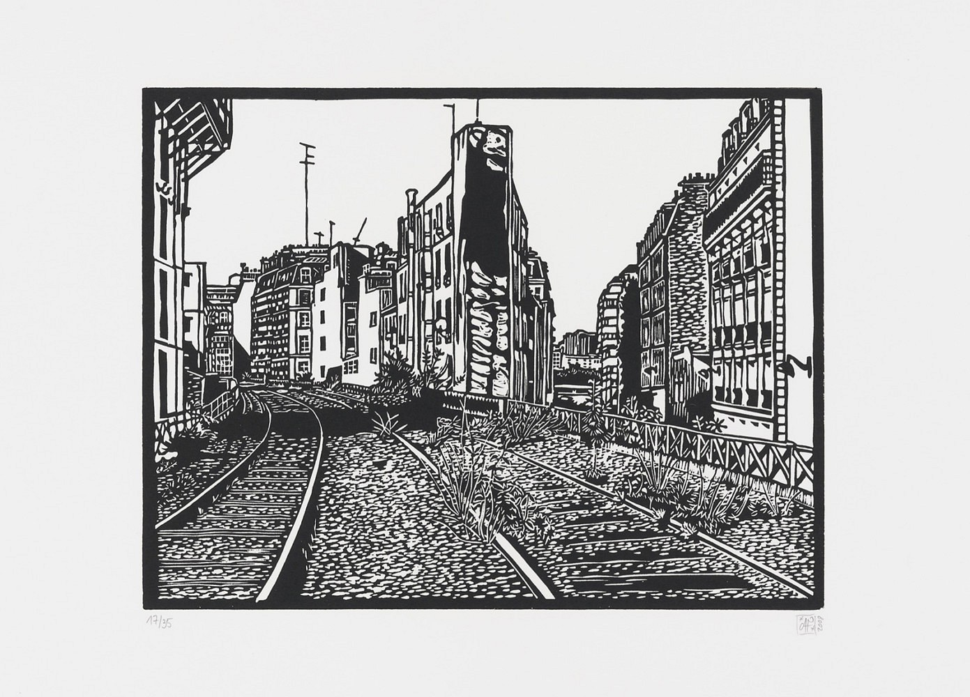 La petite ceinture #2 | Linogravure 30x40 cm - 2008