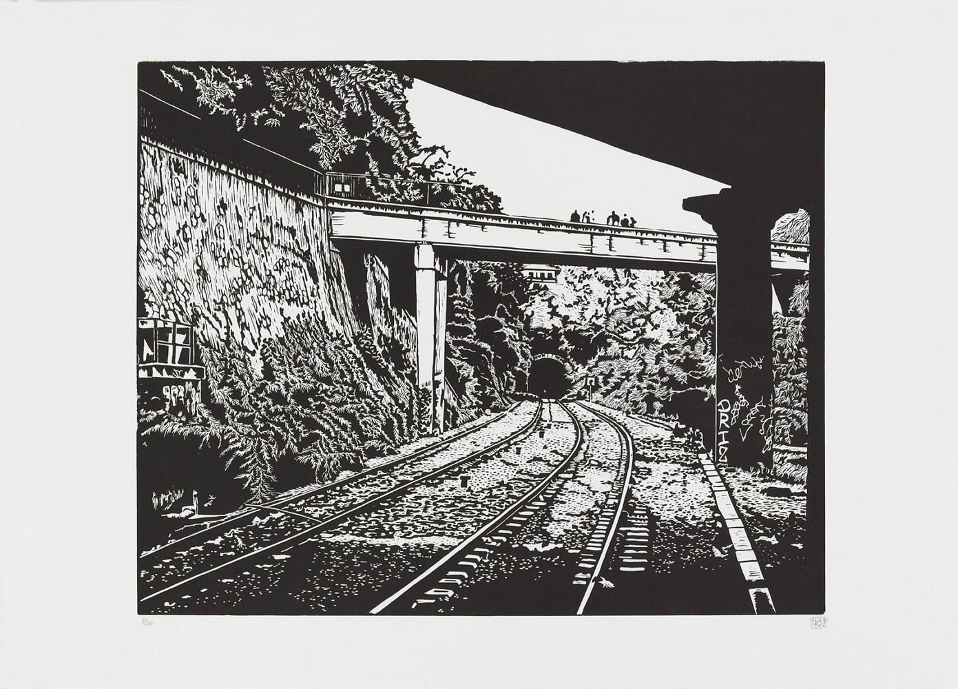 La petite ceinture #7 | Linogravure 50x60 cm - 2009