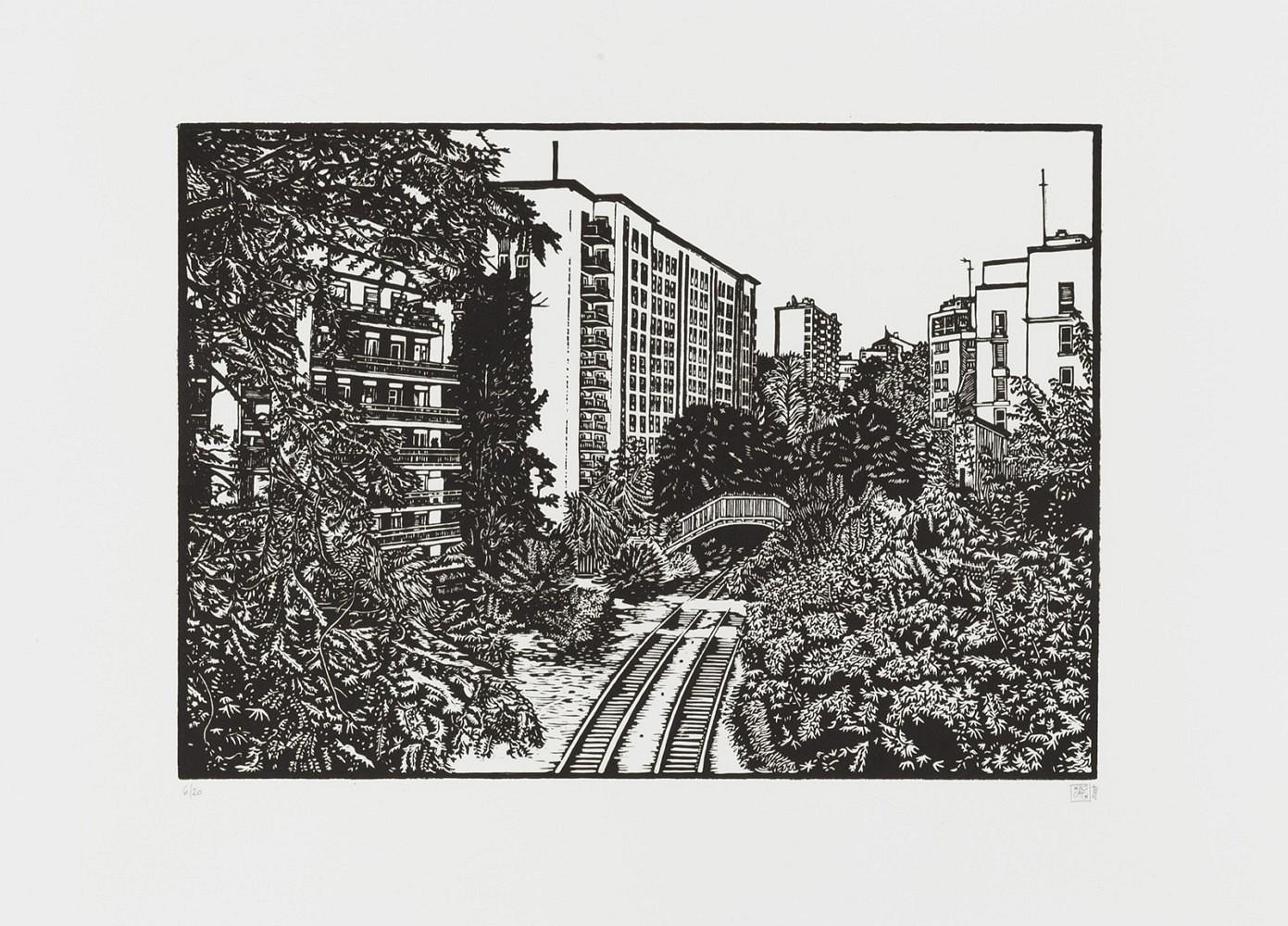La petite ceinture #5 | Linogravure 50x60 cm - 2009