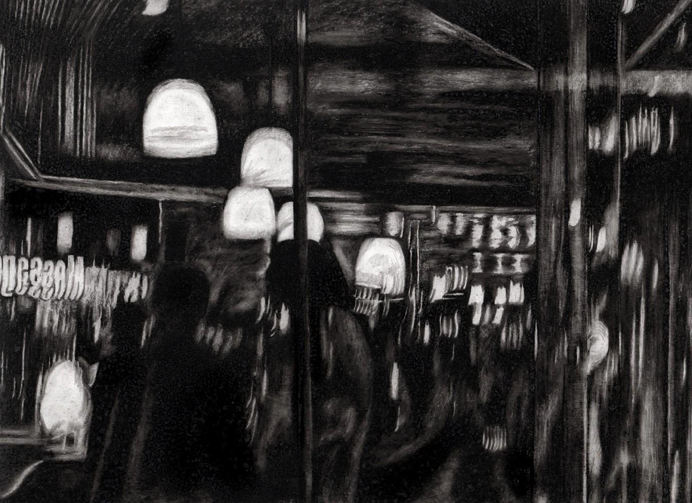 Nocturnes (café) | Crayon marqueur 25x35 cm - 2011