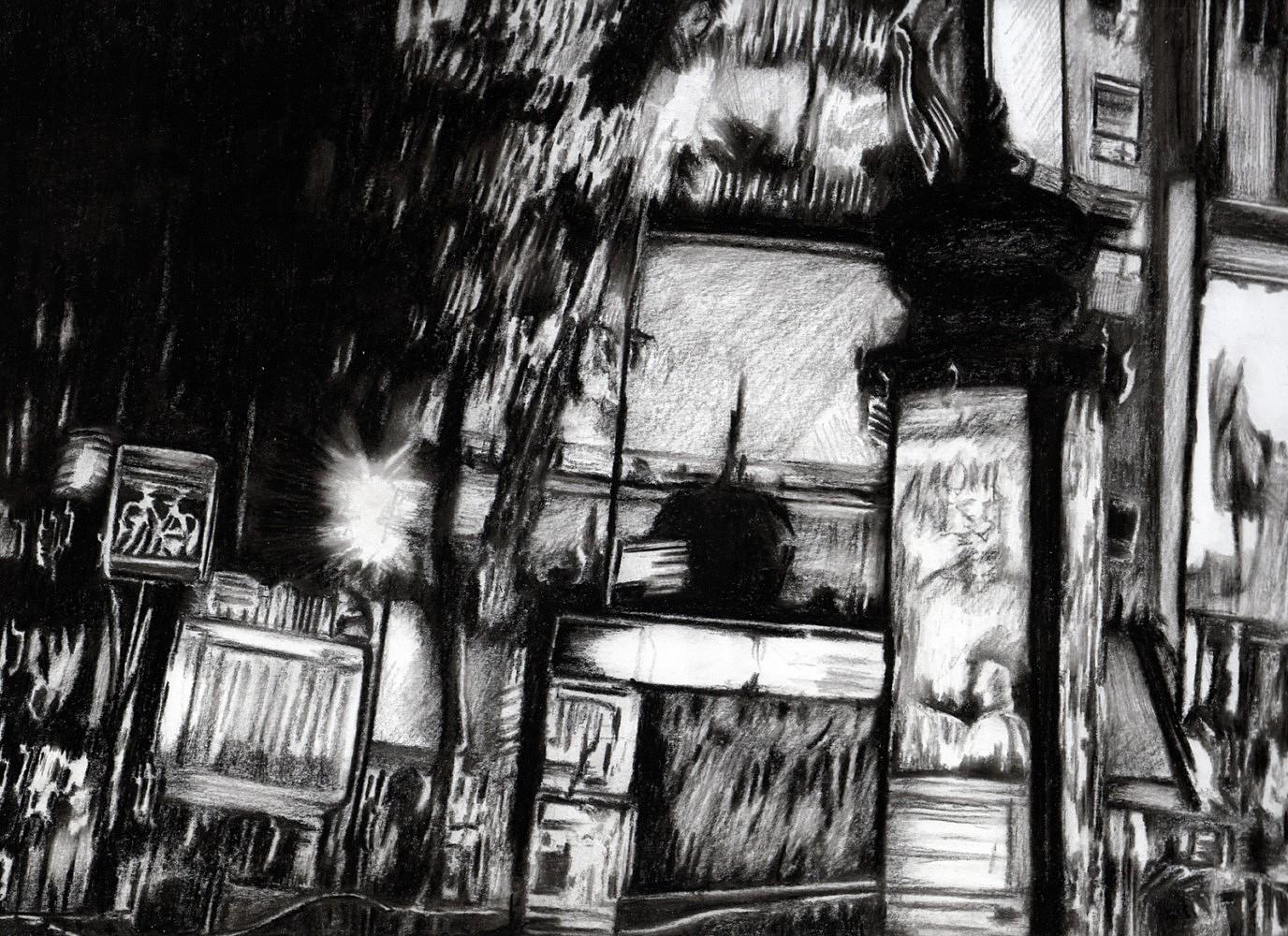 Nocturnes (Place Clichy #1) | Crayon marqueur 25x35 cm - 2011