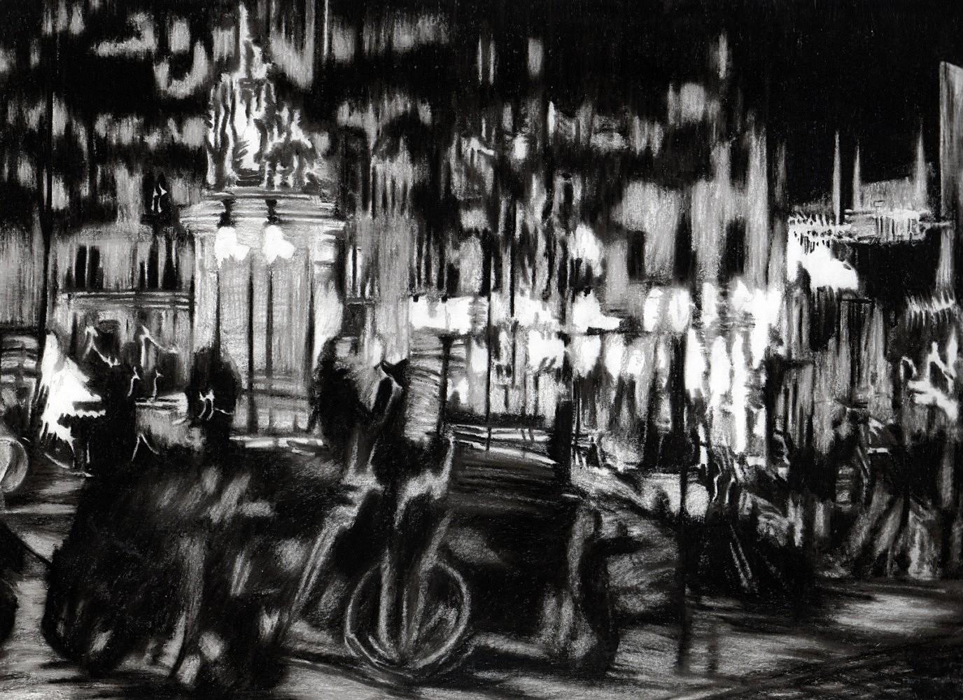 Nocturnes (Place Clichy #2) | Crayon marqueur 25x35 cm - 2011