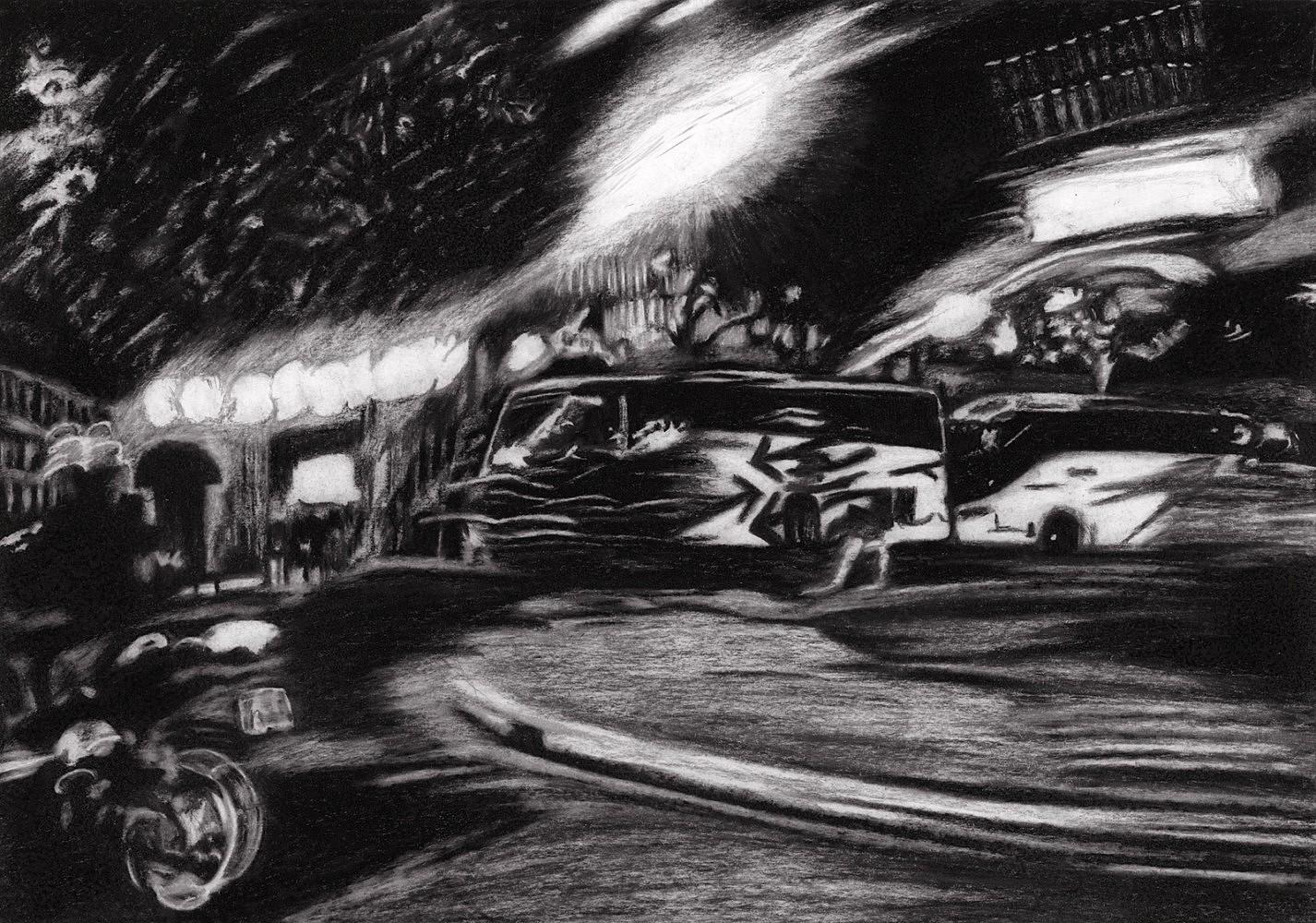 Nocturnes (Place Clichy #3) | Crayon marqueur 25x35 cm - 2011