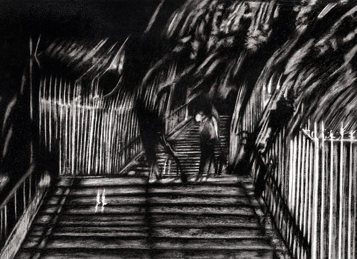Nocturnes (escalier) | Crayon marqueur 25x35 cm - 2011