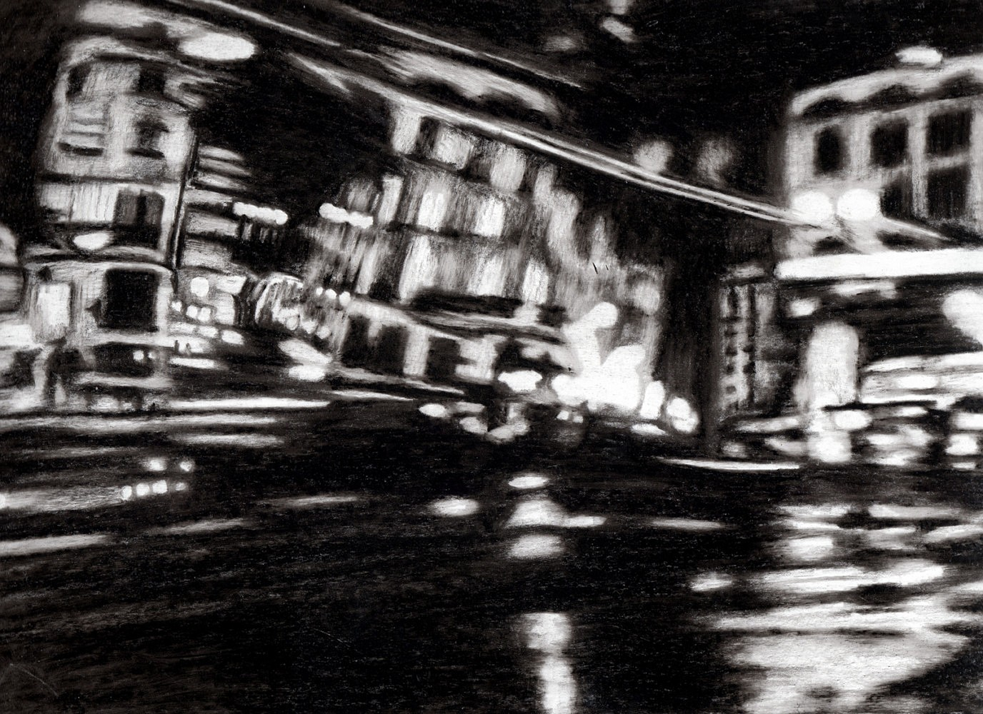 Nocturnes (taxi #2) | Crayon marqueur 25x35 cm - 2011