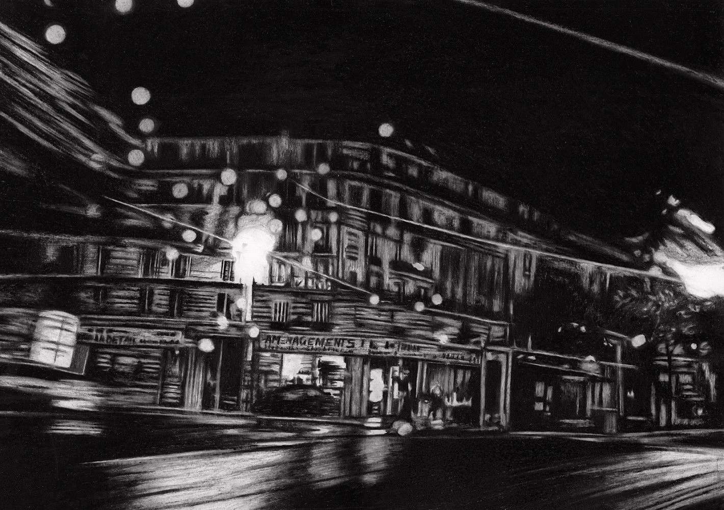 Nocturnes (taxi #3) | Crayon marqueur 35x50 cm - 2011