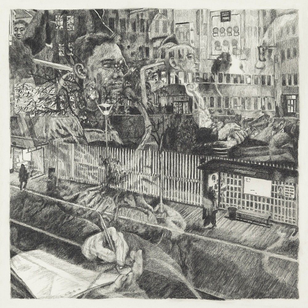 Passagers - RER B (2) | Mine graphite 20x20 cm - 2017