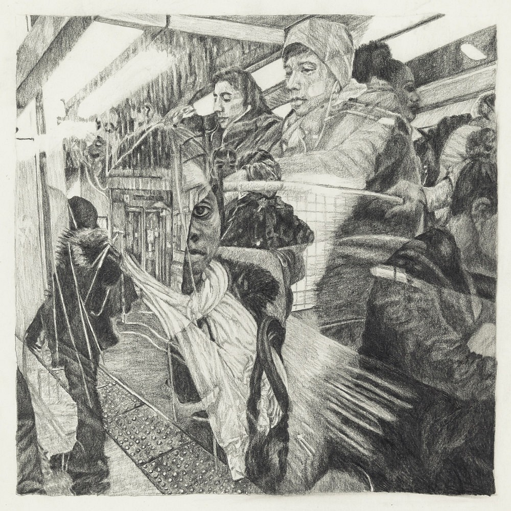 Passagers - RER B (1) | Mine graphite 20x20 cm - 2017