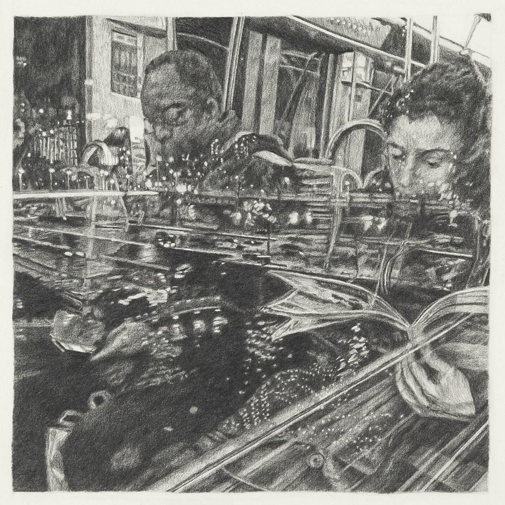Passagers - Ligne 5 | Mine graphite 20x20 cm - 2017