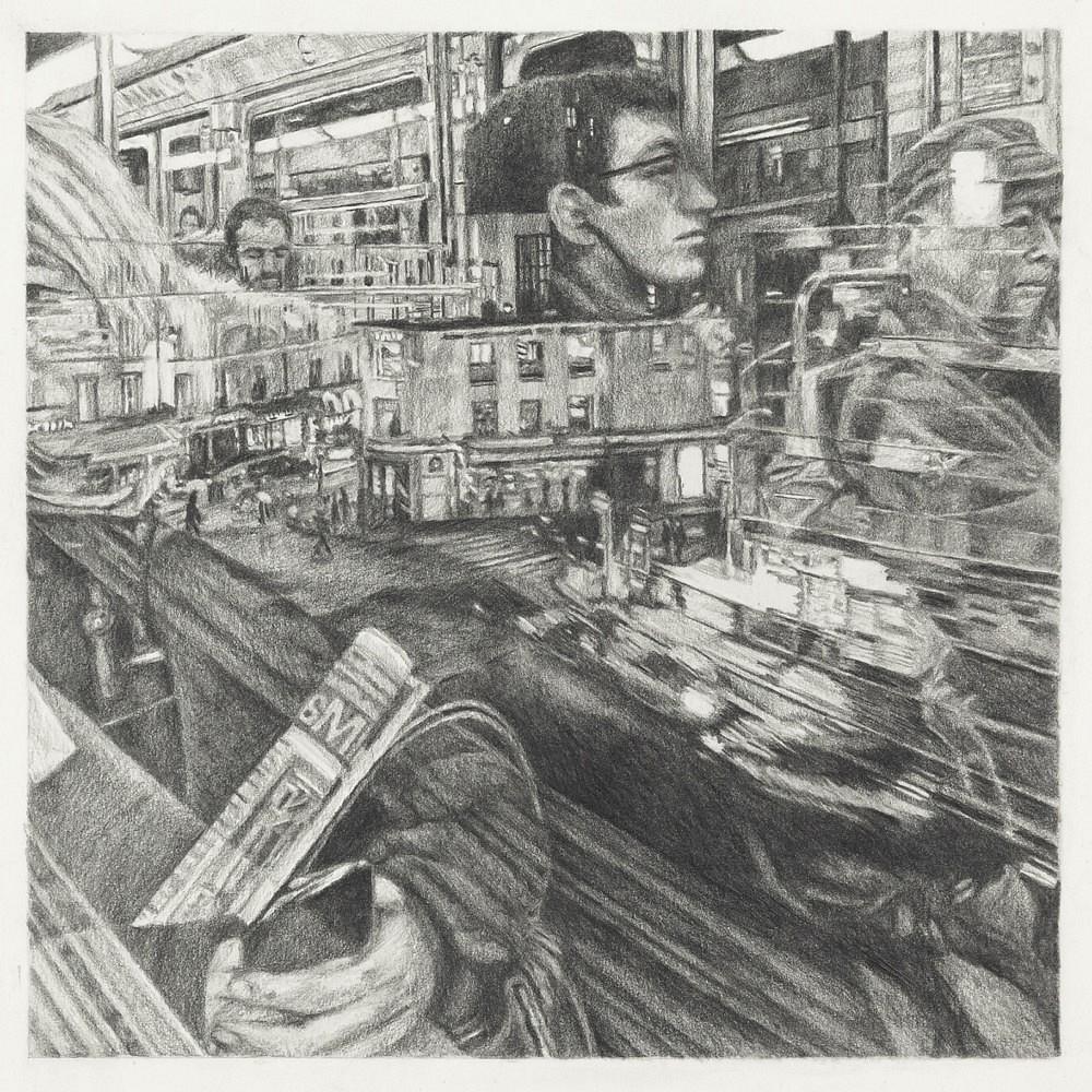 Passagers - Ligne 2 | Mine graphite 20x20 cm - 2017