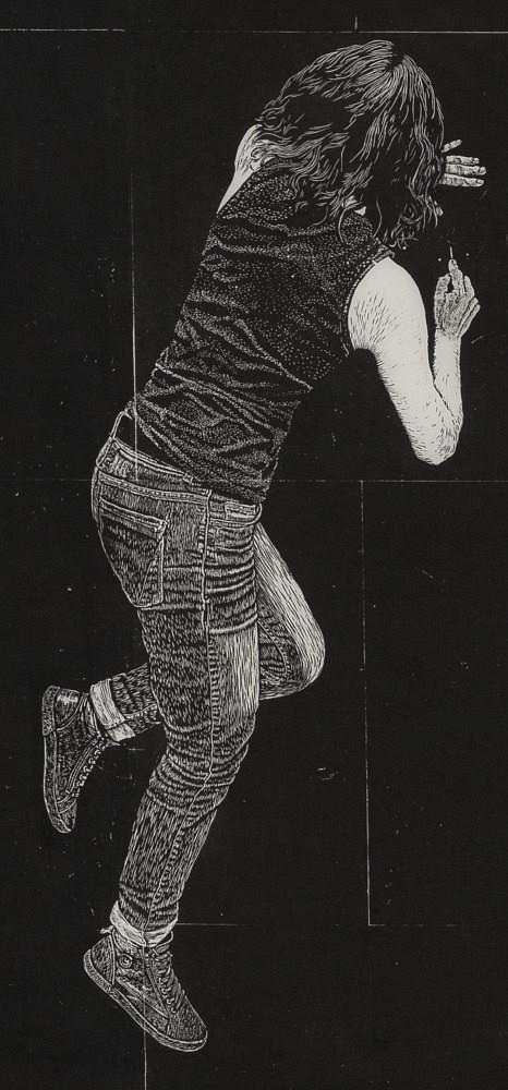 | Détail (Autoportrait gravant le sol), 85x40 cm