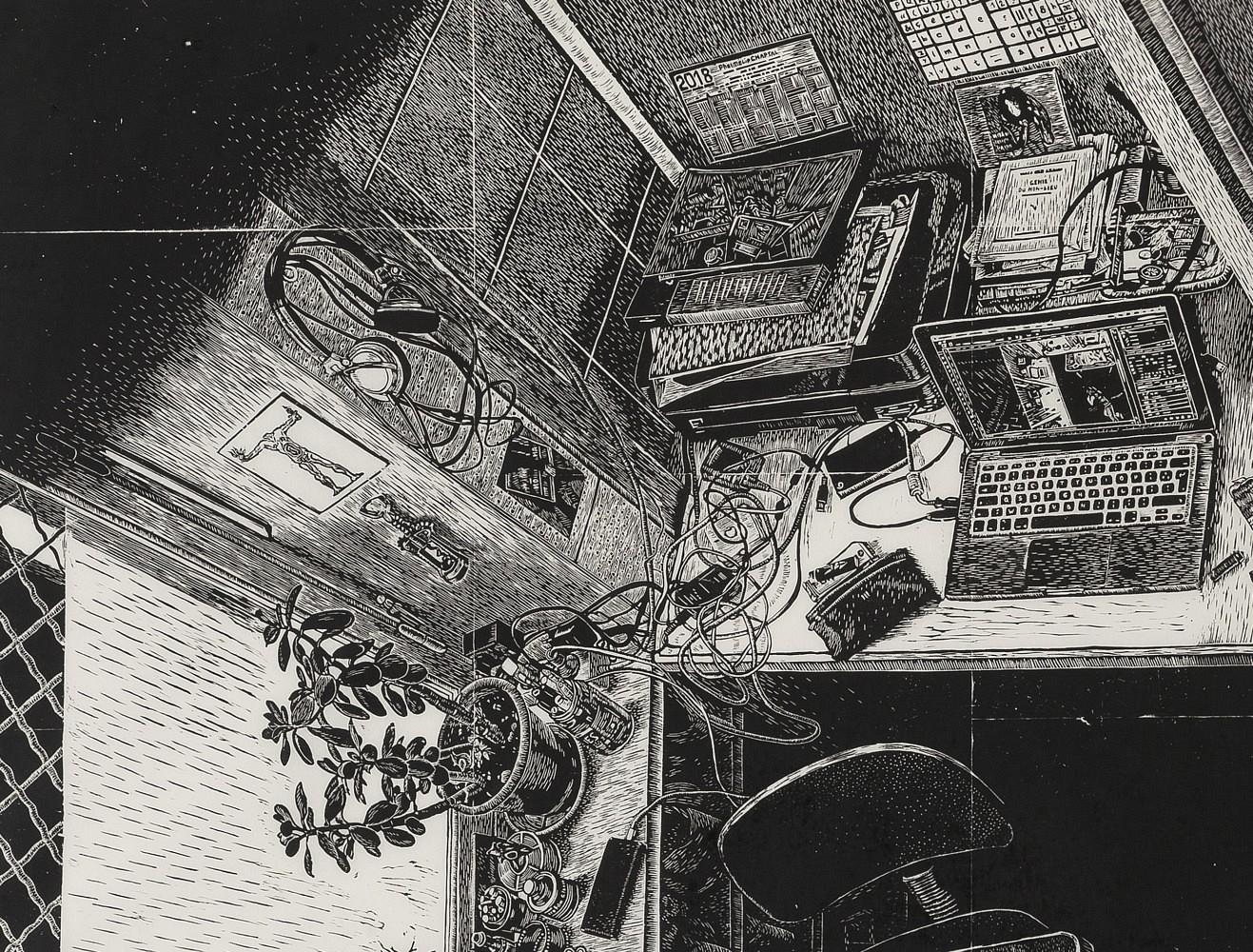 | Détail (coin de fenêtre, plante, ordinateur), 68x90 cm