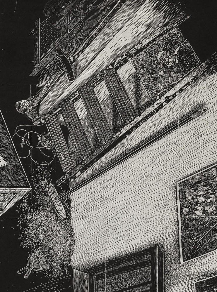| Détail (escabeau, copeaux de lino), 74x55 cm